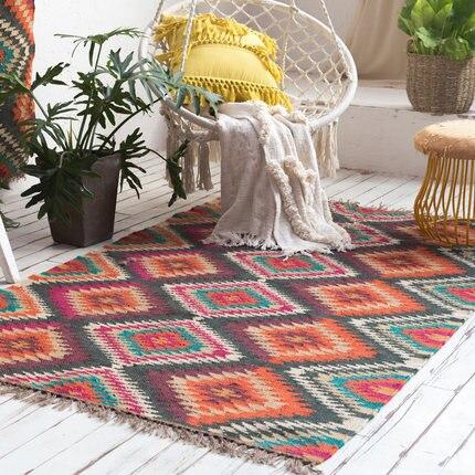 Tapis de sol inde kilim tissé à la main en jute et laine pour salon chambre tapis géométrique moderne tapis design style bohème