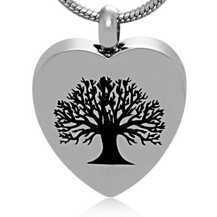 Tree Of Life in Heart Urn Necklace