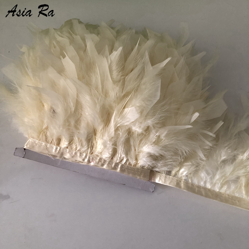 10Meters Beige Dyed Turkey Feather Fringe Trim 4-6inch Marabou Feathers Trimming Skirt Dress Trims Ribbon Feathers for Crafts