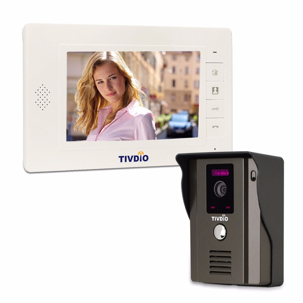 TIVDIO T-11D 7 Color LCD Video Door Phone System Wired Visual Intercom IR Camera Doorbell Doorphone For Home Apartment F9504B 7 tft lcd color video doorphone doorbell intercom system with ir camera night vision for villa home apartment