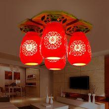 Классический Китайский Стиль Красный Керамический E27 90-260 В Четыре Головы Бамбука Потолочные Плиты Керамические Потолочные Светильники
