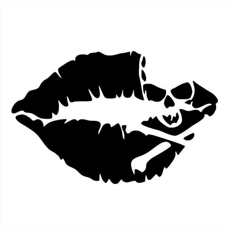 12.4*8CM Sexy Lips Skull Car Stickers Personalized Motorcycle Vinyl Decals Black/Silver C7-1012 16 8cm 13 6cm hot sexy girl creative decor car accessories vinyl stickers black silver s3 5751