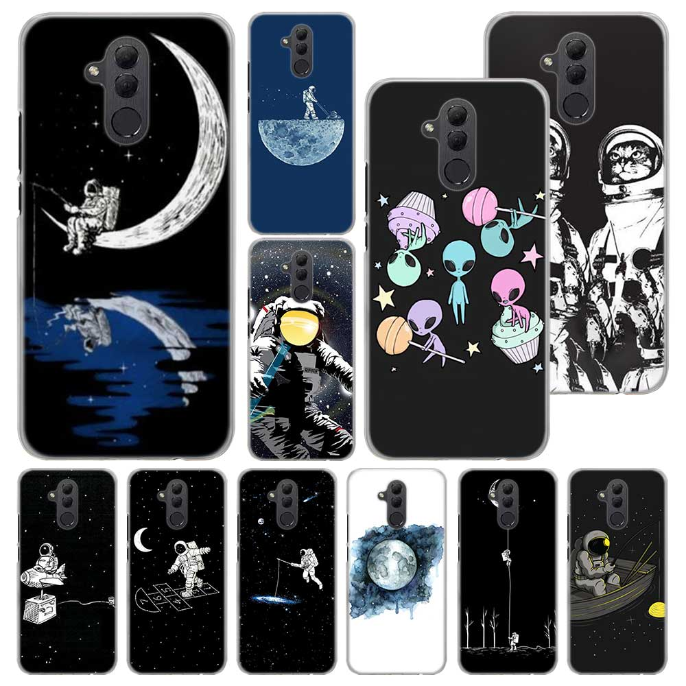 Space Love Moon Astronaut Phone case for Huawei Mate 20 Pro Mate 10 20 Lite 9 Hard PC Cases for Huawei Mate 20 Pro Case Cover