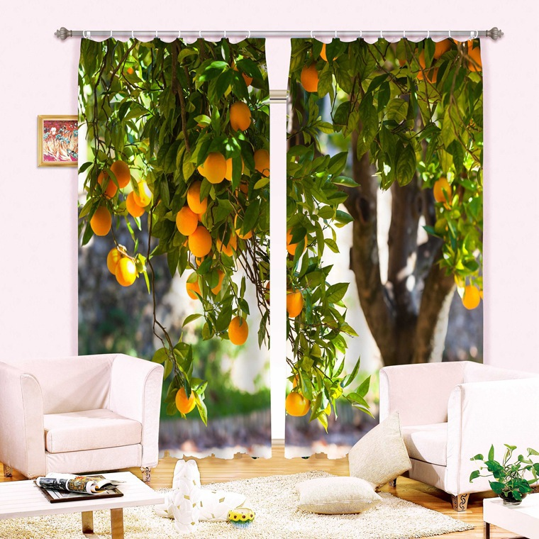 Harvest Orange Tree 3D Window Curtain for Living Room