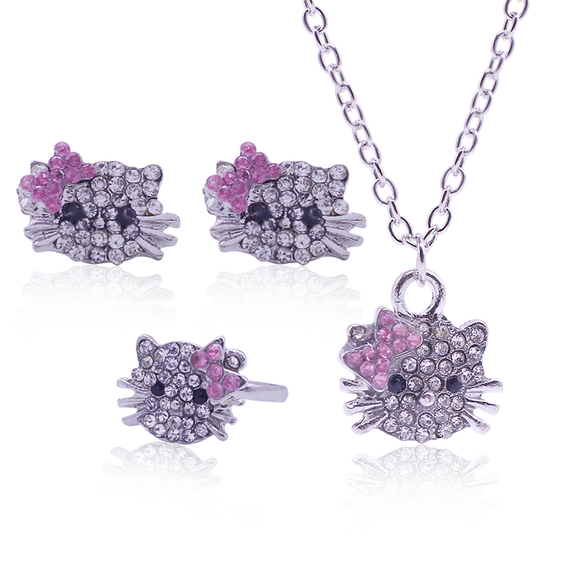 Necklace + Earring+Ring Hello Kitty Crystal Jewlery Sets Cute Rhinestone Accessiones Sets For Bridesmaid Bridal Wedding Sets