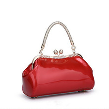 Fashion Diamonds Women Patent Leather Bag Crystal Ladies Evening Bag Bride Tote Bag Female Wedding Solid Casual Handbag Brand