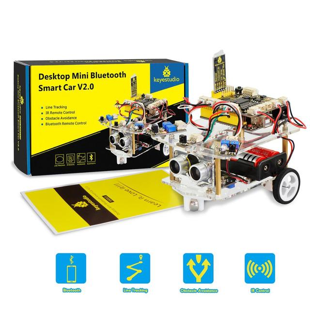 NEW!Keyestudio 2WD Desktop Mini Bluetooth Robot  Smart Car V2.0 Kit For Arduino Robot Starter  STEM Four  Function(No Battery)