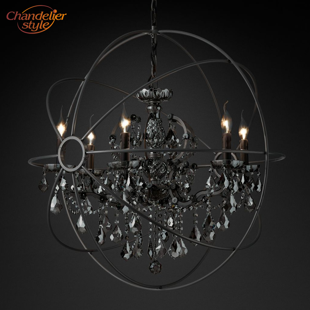 Image 4 - Foucaults Orb Smoke Crystal Chandelier Lighting Rustic Candle Chandeliers Lamp LED Pendant Hanging Light Hotel Chandelier Light-in Chandeliers from Lights & Lighting