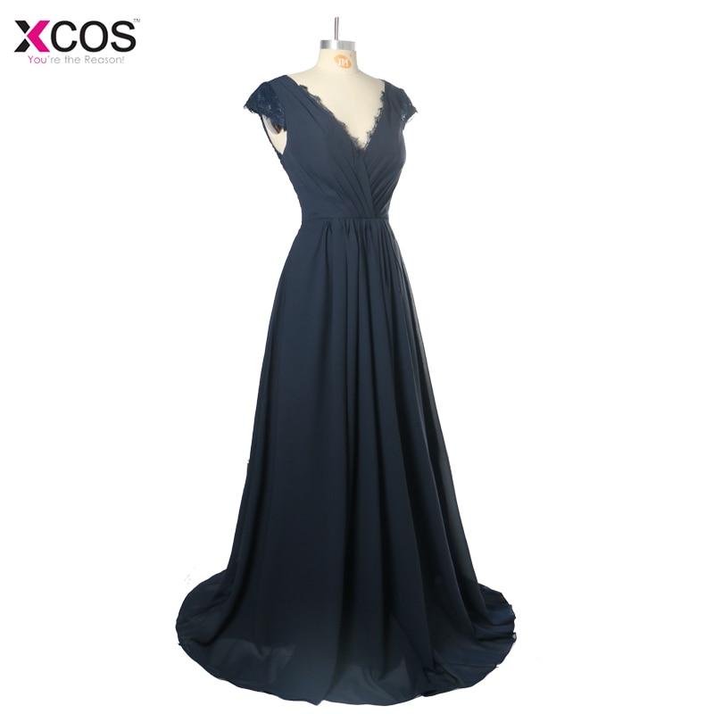 V Neck A line Navy Blue   Bridesmaid     Dresses   2018 Long Wedding Party   Dress   robe demoiselle d'honneur