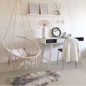 Image 3 - สไตล์นอร์ดิกรอบเปลญวนกลางแจ้งในร่มห้องนอนห้องนอนแขวนเก้าอี้สำหรับเด็กผู้ใหญ่แกว่งเดี่ยวความปลอดภัย Hammock สีขาว