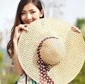 La Señora de Ala ancha Del Sombrero de Paja Flojo 2016 Casquillo de La Manera Del Verano Fold Playa Sombrero de Sol Mujeres Derby Caliente