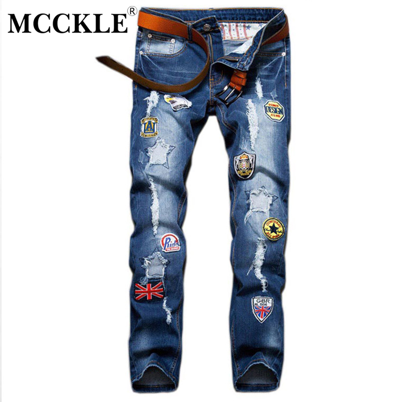 MCCKLE Slim Fit Men Ripped Patch Jeans Pants Designer Distressed Jean Trousers  Male Straight Blue Denim Joggers With Patches patch jeans ripped trousers male slim straight denim blue jeans men high quality famous brand men s jeans dsel plus size 5704