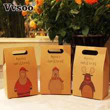 Vvsoo 1pc Paper Gift Bags Retro Elk Pattern Santa Claus Packing Gift Bags Merry Christmas Party Candies Cookie Packaging Bags