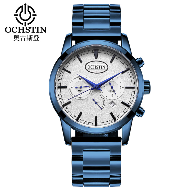купить OCHSTIN Mens Wristwatches Male Chronograph Watches Quartz Man Clocks Waterproof Stainless Steel Fashion Business Calendar 067D недорого