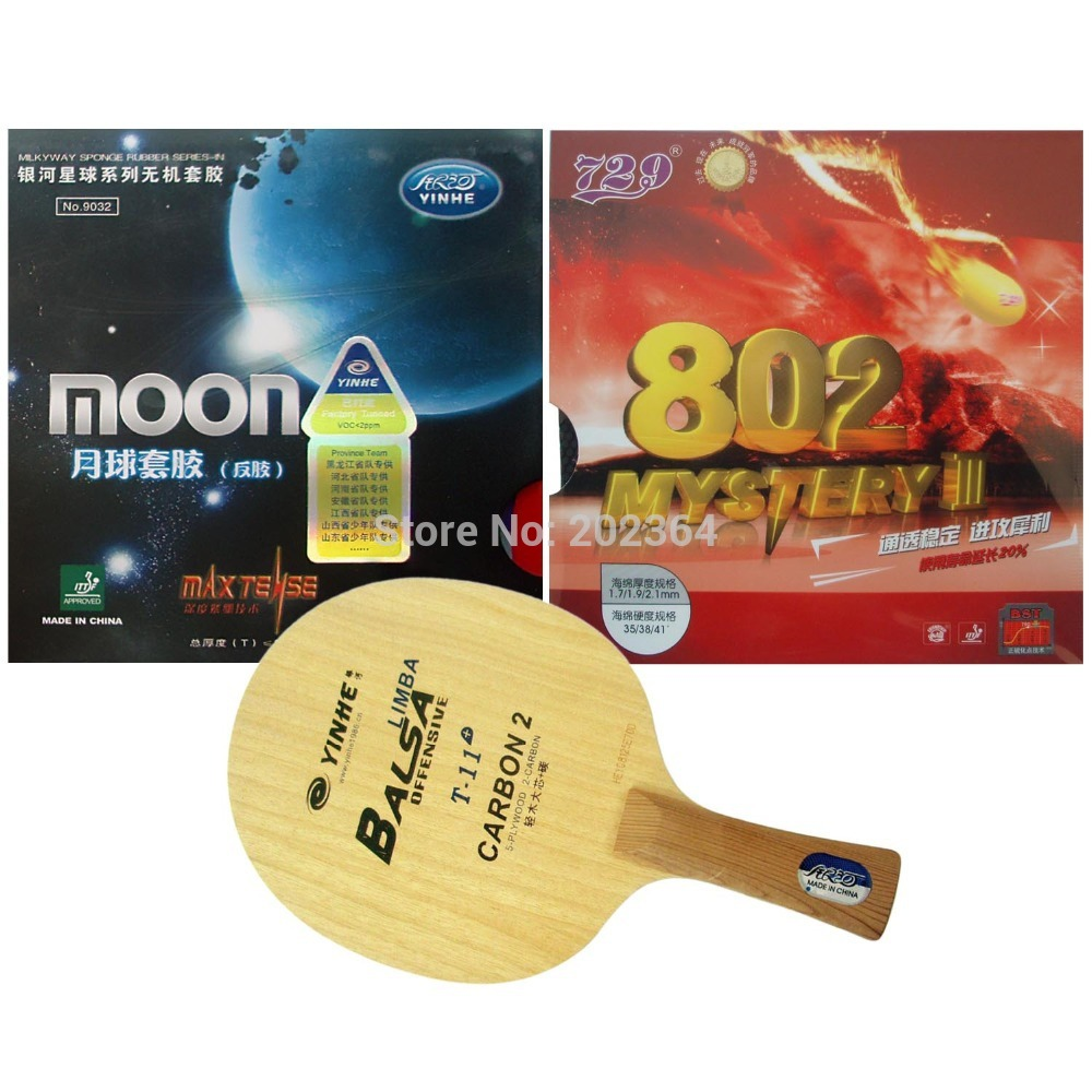 Galaxy YINHE T-11+ Table Tennis Blade With Moon Factory Tuned and 729 Mystery III 802 Rubbers With Sponge for a Racket FL galaxy yinhe emery paper racket ep 150 sandpaper table tennis paddle long shakehand st