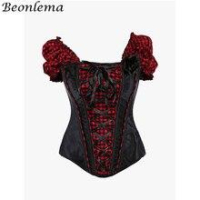 BEONLEMA Corset gothique pour femmes, noir, Lolita, Corset à manches courtes, Sexy, Plaid rouge, Bustier, liant poitrine, collection à lacets