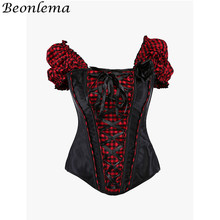 Beonlema preto rendas até espartilho gothic lolita manga curta korset para mulher sexy vermelho xadrez gótico topo bustier femme peito binder