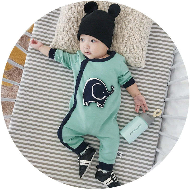Celveroso 2018 new Spring Autumn Baby boy Rompers Hit color Cartoon Elephant Infant Girl Boy cotton Jumpers Kids Baby Outfits