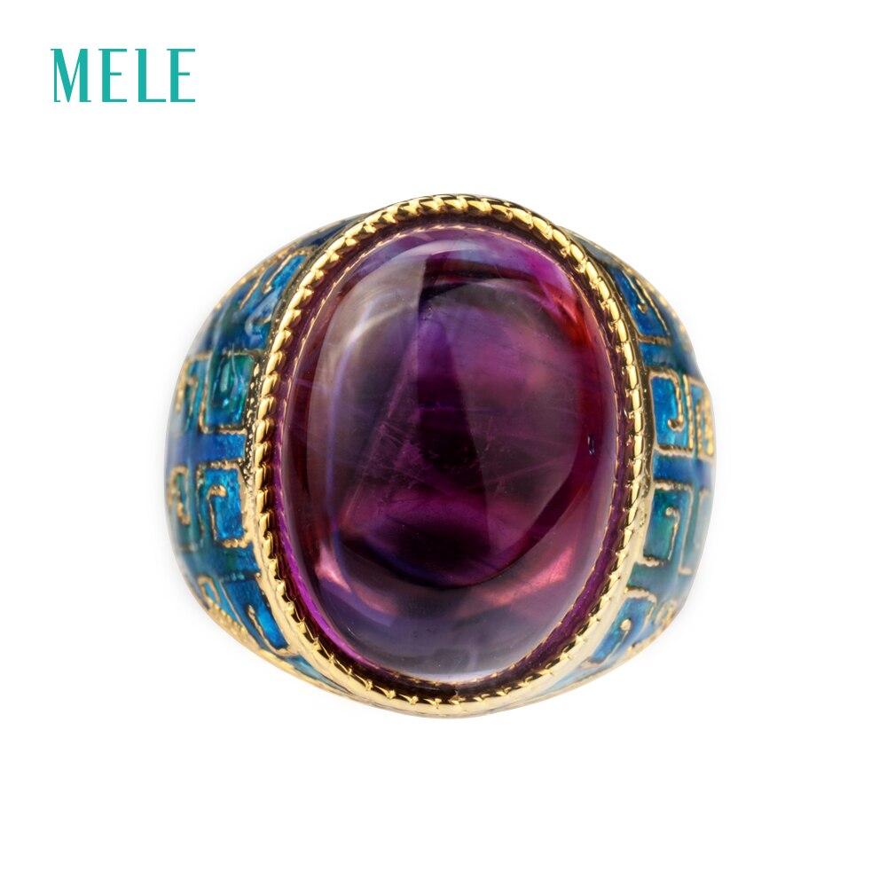 Naturlig ametist silverring, stor oval 13mm * 18mm, djup lila färg - Fina smycken