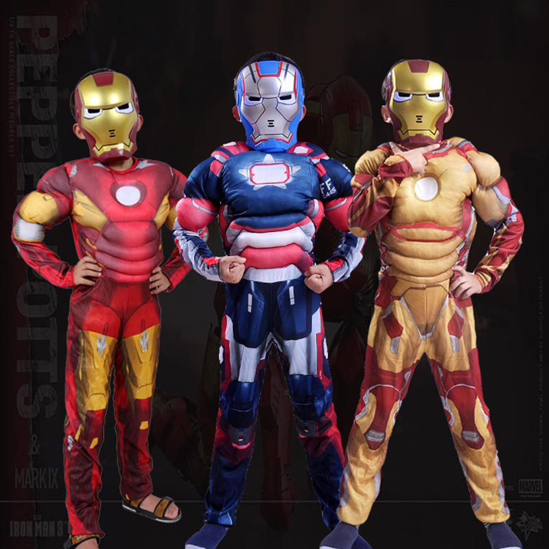 Iron Man 3 Patriots Muscle Costumes for Boys Children Superhero Iron man Halloween Cosplay Costume kids