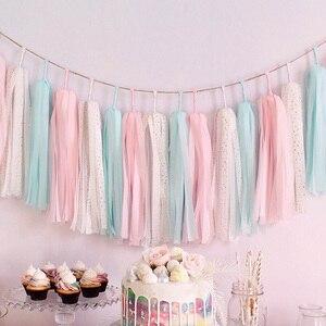 Image 2 - 5 pz/set pastello carta velina nappa ghirlanda arcobaleno unicorno Macaron pastello colore 1 ° compleanno festa Decor Baby Shower matrimonio