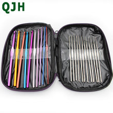 купить  22pc Multicolour Aluminum Crochet Hook Knitting Needles Handle Knit Set Weave Sweater knitting tools Craft Yarn Stitch Loom Kit онлайн