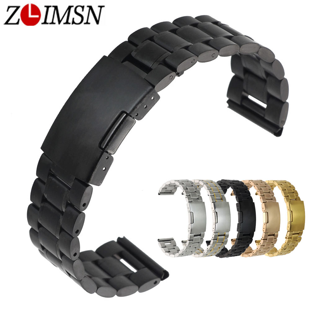 ZLIMSN Stainless Steel Watch Band 18mm 20mm 22mm 24mm 26mm Black Solid Steels Bands Watchband Bracelet Watch Accessories relogio stylish 8 led blue light digit stainless steel bracelet wrist watch black 1 cr2016