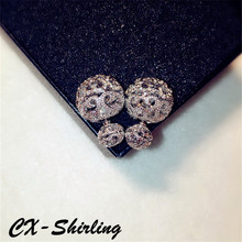 CX-Shirling Luxurious Shiny Zircon Double Wear Hallow Balls Earring Female Execellent Quality Jewelry Gifts All Match