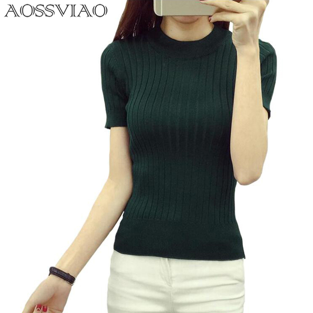 Women Fashion Sweater 2018 High Elastic Winter Green Red Black Tops Women Knitted Pullovers Short Sleeve Shirt Female Clothes