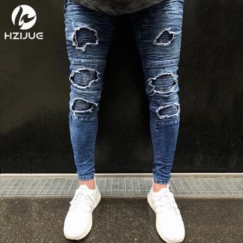 HZIJUE 2018 Hi-Street Men Knee Eversion Ripped Big Hole Men Jeans Streetwear Skateboard Straight Pants Man Casual Elastic Jeans 1