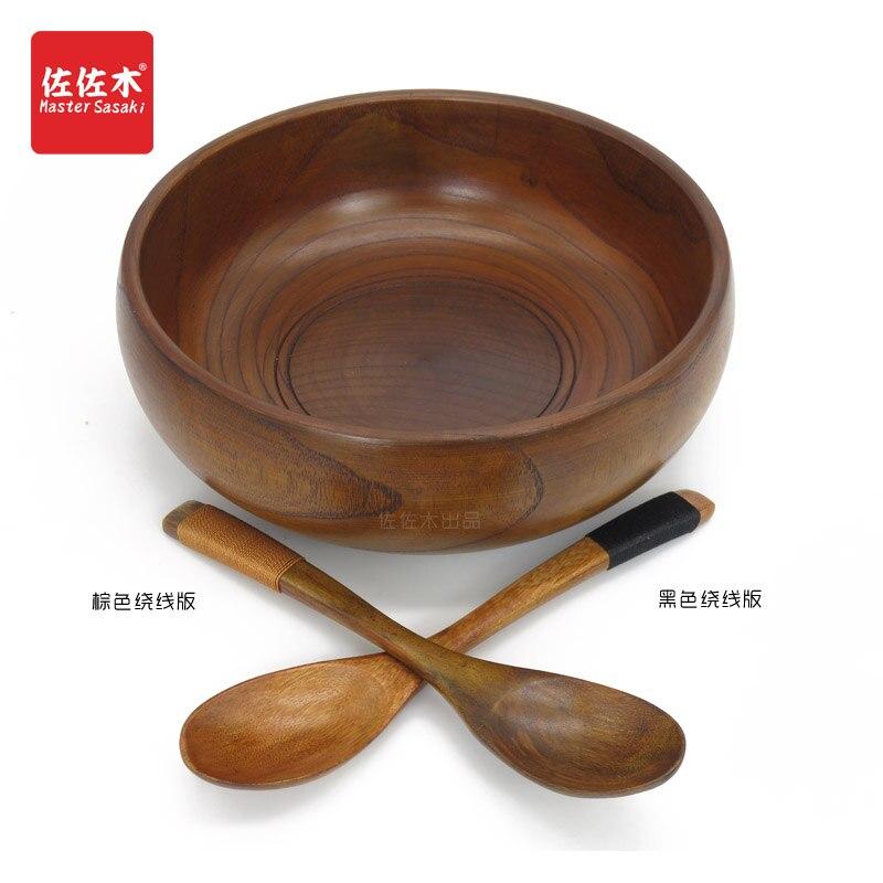 Купить с кэшбэком Solid wood tableware spoon set Wood mortar Spoon  large bowl Large wooden bowl Snack  Wood bowl 19-20cm