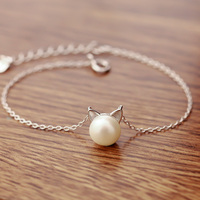 925 Sterling Silver Cute Cat Simulated Pearl Bracelet Women Charm Brand Jewelry Free Shipping (SB031)
