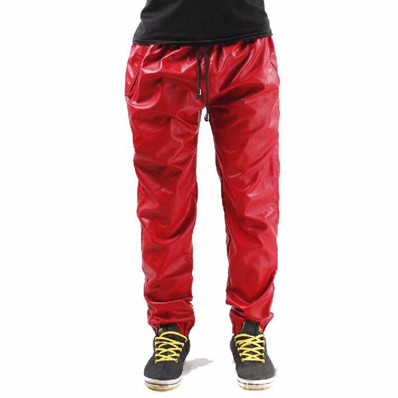 Cool-Hip-Hop-Leather-Sweatpants-Men-Black-RED-Leather-Pants-Sweat-Pants-Trackpants-Big-Size-28
