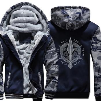 Men long Sleeve wool liner Clothes Odin Viking hooded jackets zipper thicken warm sweatshirts Vikings Odin man's tracksuits 2018
