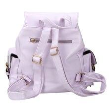 Новый Повседневное Для женщин Мода из искусственной кожи multi-карман рюкзак школьный ранец для подарок для девочек 4 цвета Высокое качество-15