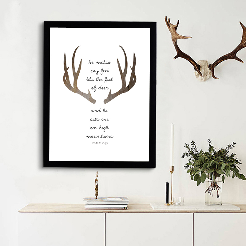 Deer Bible Verse Triangles Print Art Nordic Canvas Posters Modern Christian Art Christian Quote Wall Art Home Decor No Frame