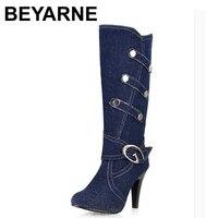 BEYARNE kích thước Lớn phụ nữ Mới Mùa Xuân mùa thu thời trang Nửa boots denim mỏng gót Khóa dây đeo Rắn Đen Xanh Thời Trang Mát Mẻ sale Hot