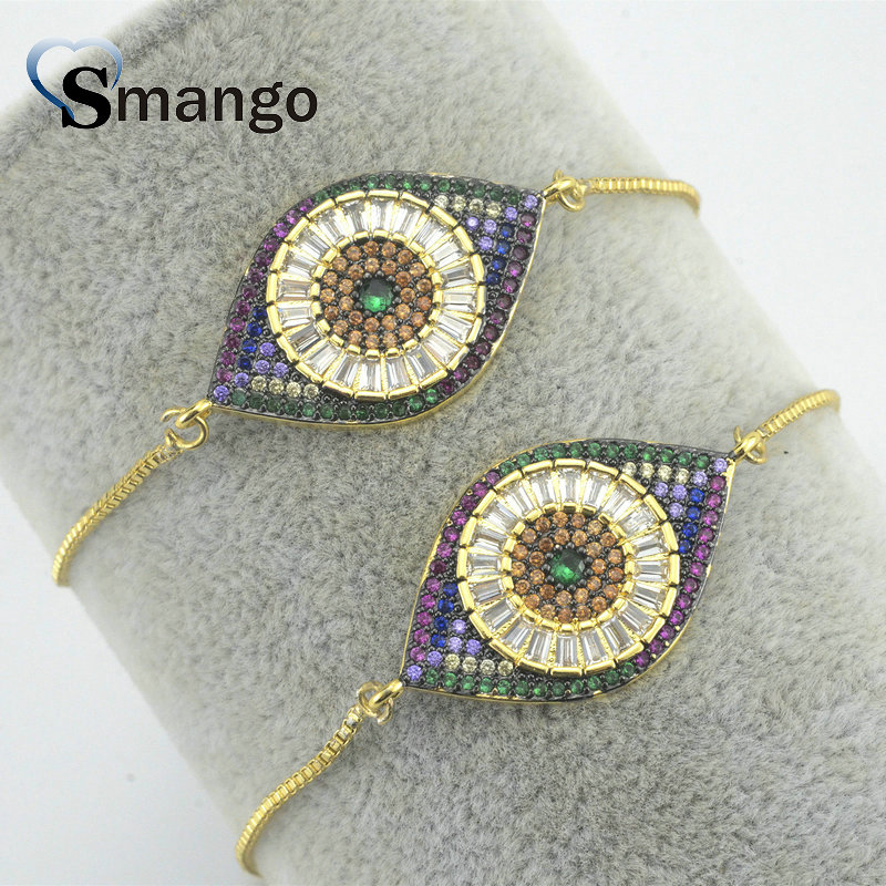 2019 New Arrival Jewelry!! The Eye Shape Bracelets for Women,The Rainbow Series,Gold Plating,5Pieces