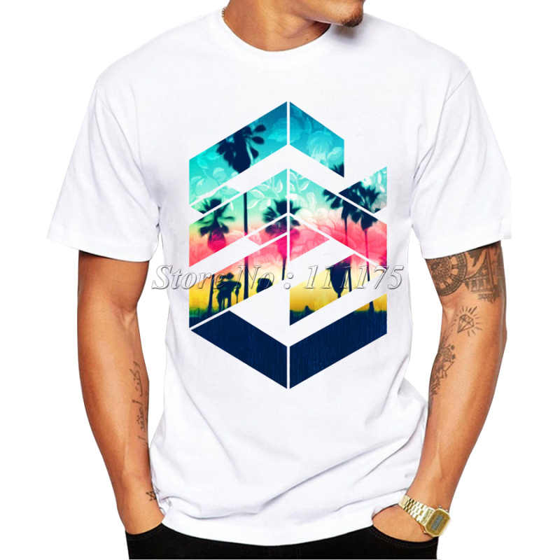 Men's 2019 Geometric Sunset Beach Design T Shirt Boy Cool Tops Hipster Printed Summer T-shirt