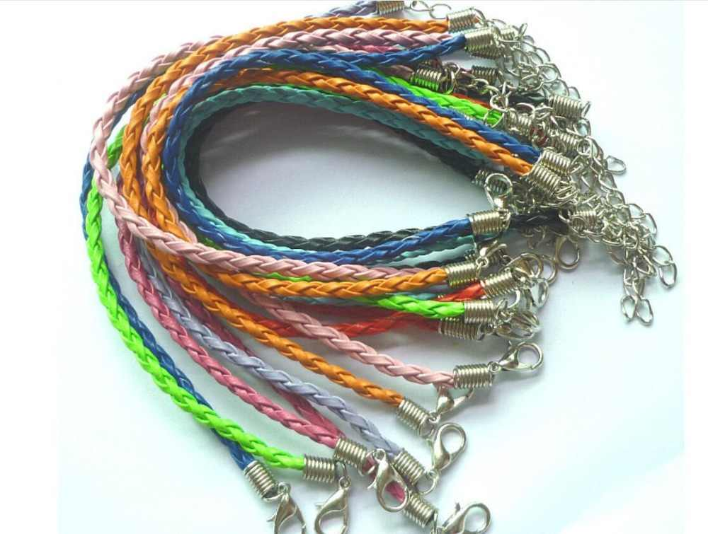 3.5MM colors leather cord Bracelets with Lobster Claw Clasp and Extension Chain for Handmade bracelet 25cm 2 pieces/lot
