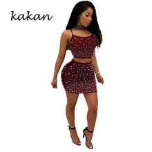 Kakan 2019 summer new womens dress two-piece hot drilling beaded mesh jujube red
