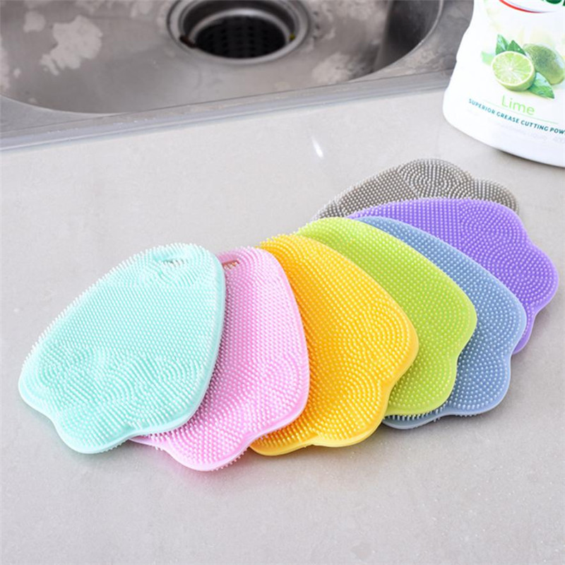 Antibacterial Silicone Cleaning Brush Pad Dish Fruit Scrubber Kitchen x30406