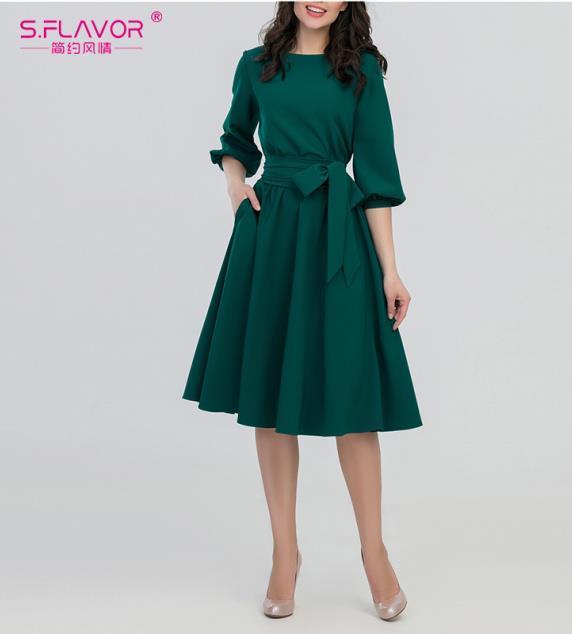 Women Vintage Dress Green...