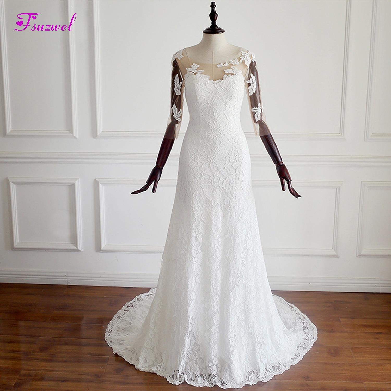 Fmogl Scoop Neck Appliques Three Quarter Mermaid Wedding Dress 2020 Graceful Lace Trumpet Bohemian Wedding Gown Robe De Mariage
