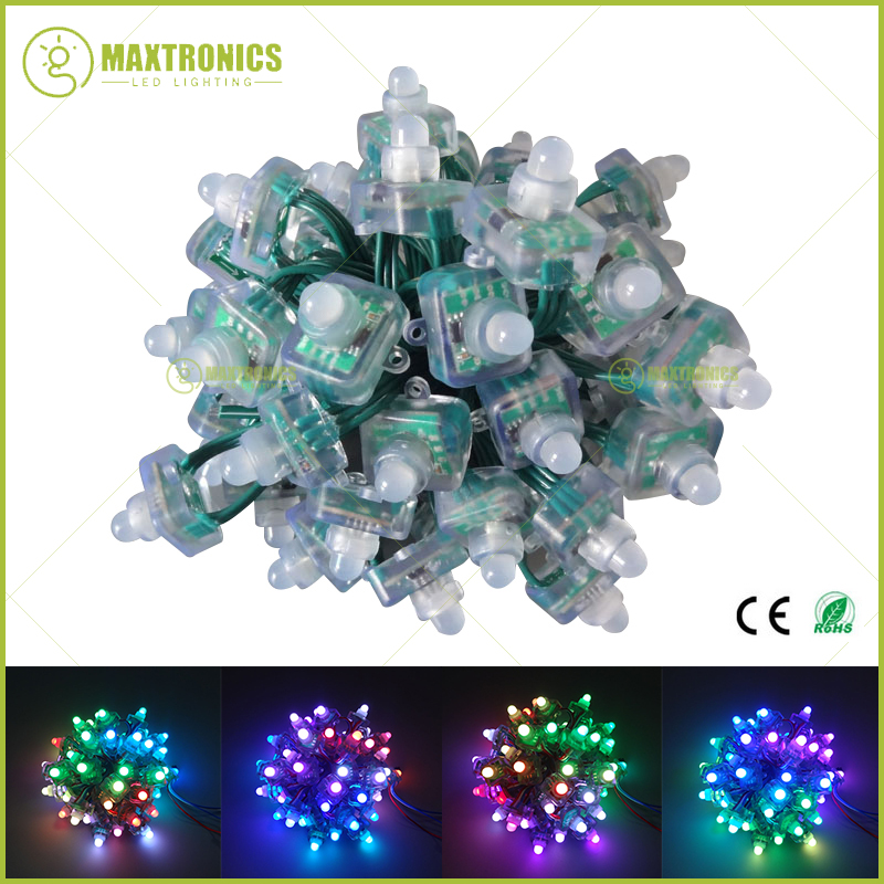 Wholesale price 12mm WS2811 T1515 Led Pixel Module String Green cable Square IP68 Waterproof DC5V