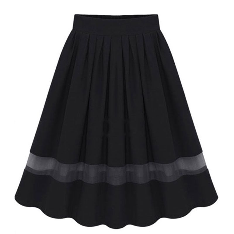 Women European Style Elastic Waist Chiffon Skirt Fashion Mesh Patchwork Elegant Office Lady Skirts Knee-Length Pleated Skirt