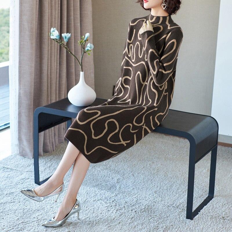 Pull robe 2018 hiver mode femmes nouveau col montant à manches longues géométrique imprimé lâche chaud laine tricoté robe Midi - 2