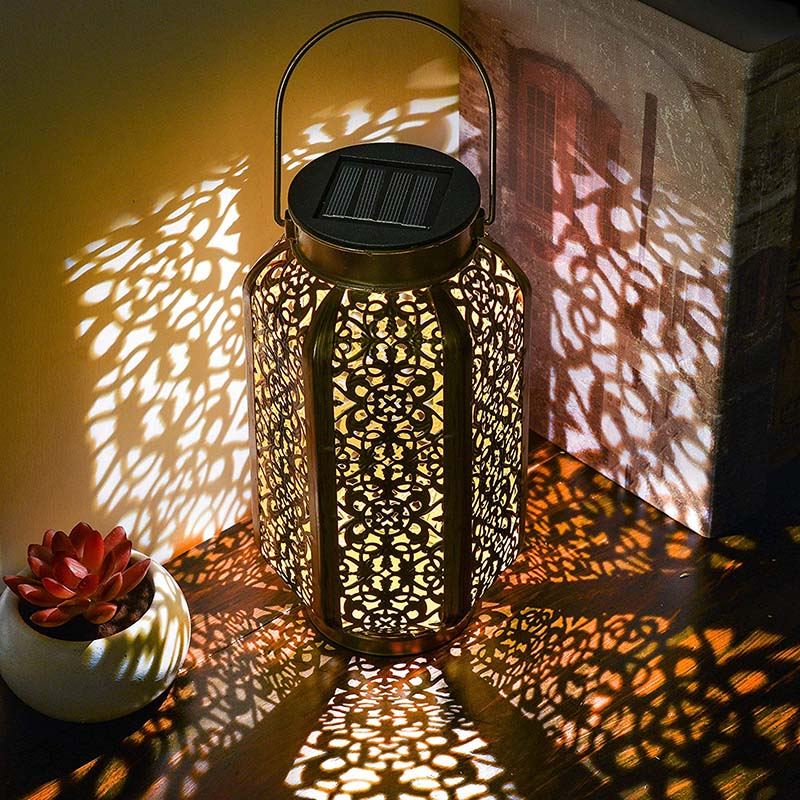 Hot Solar Lantern Hollow Carved Hanging Bright Lantern With Handle Home Decor LSK99