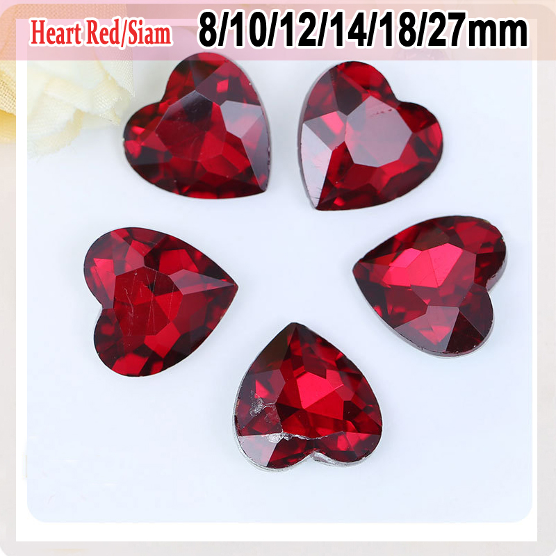 Heart Shape Pointback Crystals Wedding Decorations Accessories Red