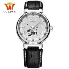 купить OYW Luxury White Silver Watch Mens Male Automatic Self Wind Dress Watch Leather Band Business Fashion Wristwatch Hombre Relogios дешево